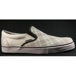 Kustom - Slip on Cheques white / brown