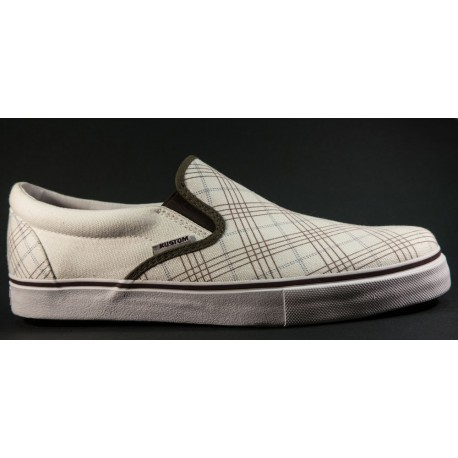Kustom - Slip on Cheques white / brown